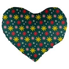 The Gift Wrap Patterns Large 19  Premium Flano Heart Shape Cushions