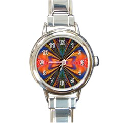 Casanova Abstract Art Colors Cool Druffix Flower Freaky Trippy Round Italian Charm Watch