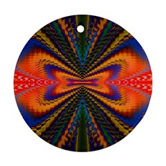 Casanova Abstract Art Colors Cool Druffix Flower Freaky Trippy Round Ornament (two Sides)