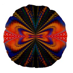 Casanova Abstract Art Colors Cool Druffix Flower Freaky Trippy Large 18  Premium Flano Round Cushions