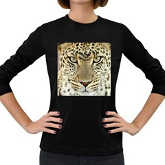 Leopard Face Women s Long Sleeve Dark T Shirts