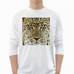 Leopard Face White Long Sleeve T Shirts