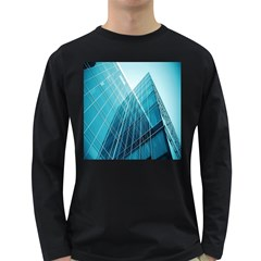 Glass Bulding Long Sleeve Dark T Shirts