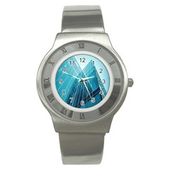 Glass Bulding Stainless Steel Watch