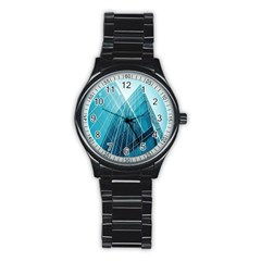 Glass Bulding Stainless Steel Round Watch