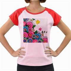 Flowers Pattern Vector Art Women s Cap Sleeve T Shirt