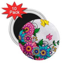 Flowers Pattern Vector Art 2 25  Magnets (10 Pack)