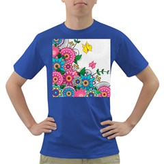 Flowers Pattern Vector Art Dark T Shirt