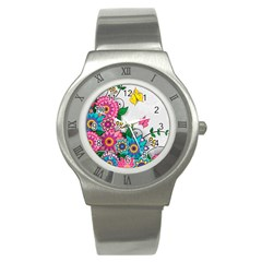 Flowers Pattern Vector Art Stainless Steel Watch