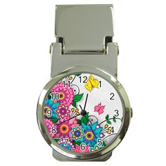 Flowers Pattern Vector Art Money Clip Watches