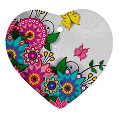 Flowers Pattern Vector Art Heart Ornament (two Sides)