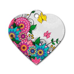 Flowers Pattern Vector Art Dog Tag Heart (two Sides)