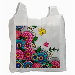 Flowers Pattern Vector Art Recycle Bag (two Side)