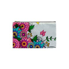 Flowers Pattern Vector Art Cosmetic Bag (small)