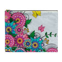 Flowers Pattern Vector Art Cosmetic Bag (xl)