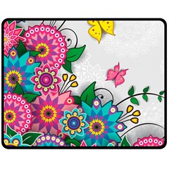 Flowers Pattern Vector Art Double Sided Fleece Blanket (medium)