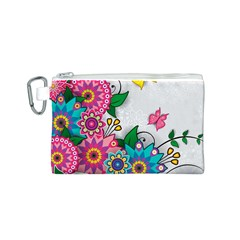 Flowers Pattern Vector Art Canvas Cosmetic Bag (s)