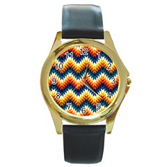 The Amazing Pattern Library Round Gold Metal Watch