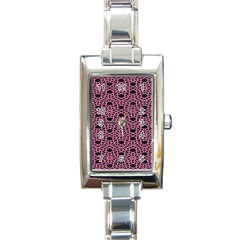 Triangle Knot Pink And Black Fabric Rectangle Italian Charm Watch
