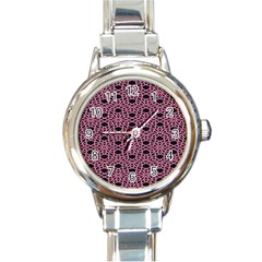 Triangle Knot Pink And Black Fabric Round Italian Charm Watch