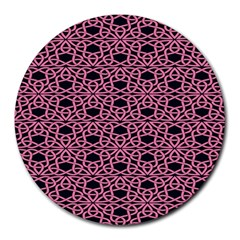 Triangle Knot Pink And Black Fabric Round Mousepads