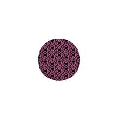 Triangle Knot Pink And Black Fabric 1  Mini Buttons