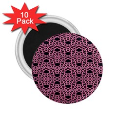 Triangle Knot Pink And Black Fabric 2 25  Magnets (10 Pack)