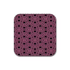 Triangle Knot Pink And Black Fabric Rubber Square Coaster (4 Pack)