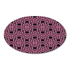 Triangle Knot Pink And Black Fabric Oval Magnet