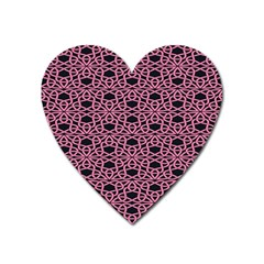 Triangle Knot Pink And Black Fabric Heart Magnet