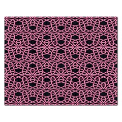 Triangle Knot Pink And Black Fabric Rectangular Jigsaw Puzzl