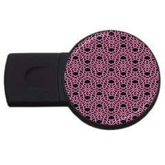 Triangle Knot Pink And Black Fabric Usb Flash Drive Round (4 Gb)