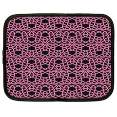 Triangle Knot Pink And Black Fabric Netbook Case (xl)