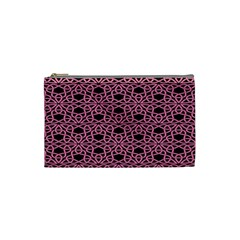 Triangle Knot Pink And Black Fabric Cosmetic Bag (small)