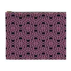 Triangle Knot Pink And Black Fabric Cosmetic Bag (xl)