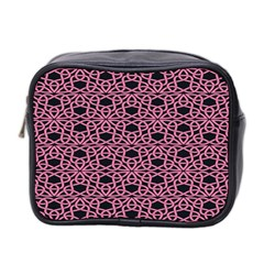 Triangle Knot Pink And Black Fabric Mini Toiletries Bag 2 Side