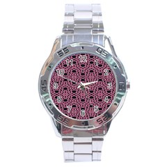 Triangle Knot Pink And Black Fabric Stainless Steel Analogue Watch
