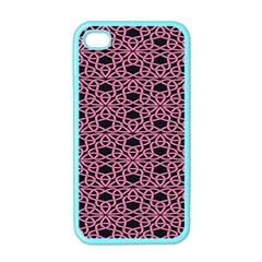 Triangle Knot Pink And Black Fabric Apple Iphone 4 Case (color)
