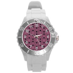 Triangle Knot Pink And Black Fabric Round Plastic Sport Watch (l)