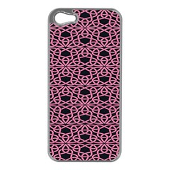 Triangle Knot Pink And Black Fabric Apple Iphone 5 Case (silver)