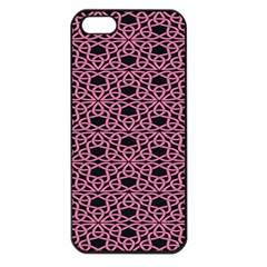 Triangle Knot Pink And Black Fabric Apple Iphone 5 Seamless Case (black)