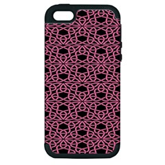 Triangle Knot Pink And Black Fabric Apple Iphone 5 Hardshell Case (pc+silicone)