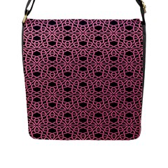 Triangle Knot Pink And Black Fabric Flap Messenger Bag (l)
