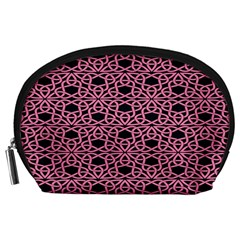 Triangle Knot Pink And Black Fabric Accessory Pouches (large)