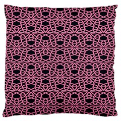 Triangle Knot Pink And Black Fabric Large Flano Cushion Case (one Side)