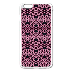 Triangle Knot Pink And Black Fabric Apple Iphone 6 Plus/6s Plus Enamel White Case