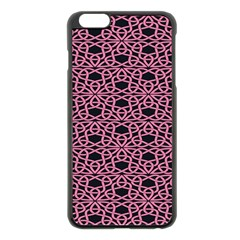 Triangle Knot Pink And Black Fabric Apple Iphone 6 Plus/6s Plus Black Enamel Case