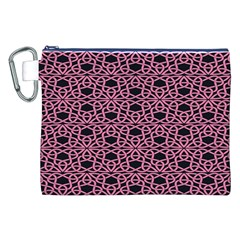Triangle Knot Pink And Black Fabric Canvas Cosmetic Bag (xxl)
