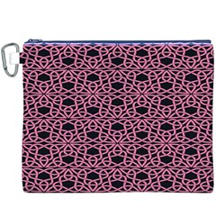Triangle Knot Pink And Black Fabric Canvas Cosmetic Bag (xxxl)
