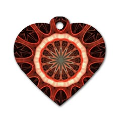 Circle Pattern Dog Tag Heart (one Side)